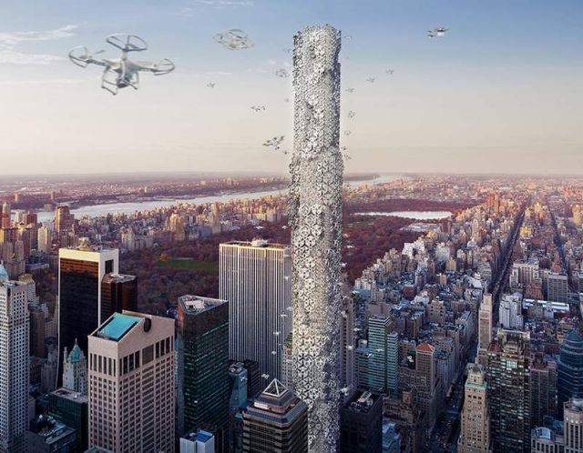 Drone Skyscraper in Manhattan