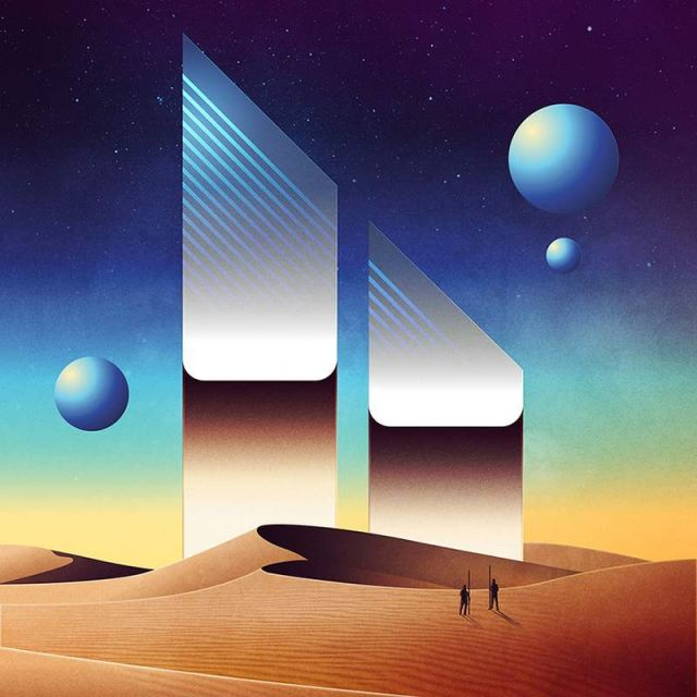 Geometrical Sci-Fi landscapes by James White (2)