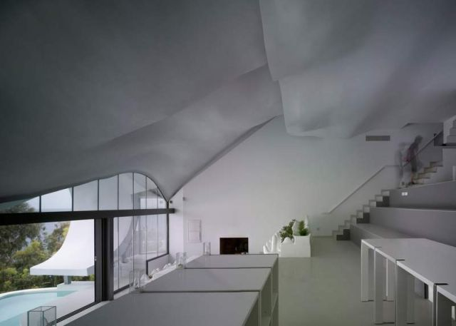 Residence with a wavy zinc-covered roof in Granada province, in Spain (4)