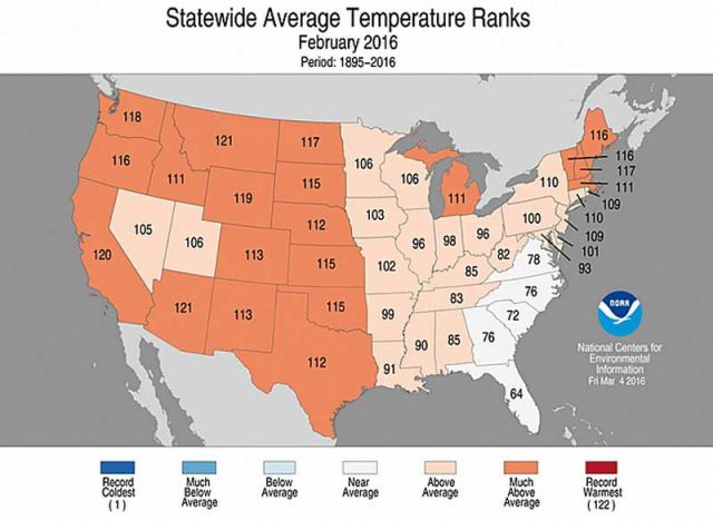 The warmest winter on record in the United States