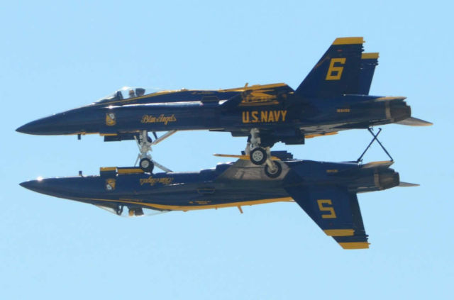 Blue Angels incredible upside-down formation