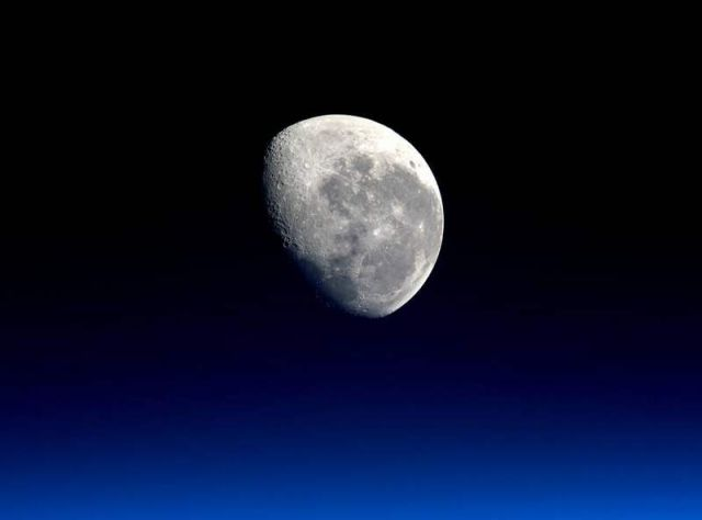 Moonset viewed from the Space Station