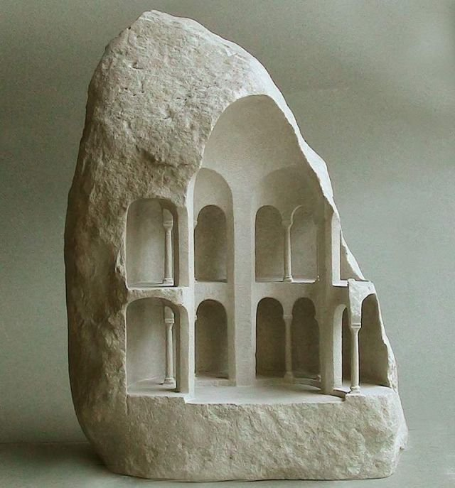 Miniature Structures carved into raw stone
