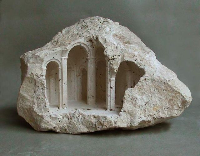 Miniature Structures carved into raw stone (5)