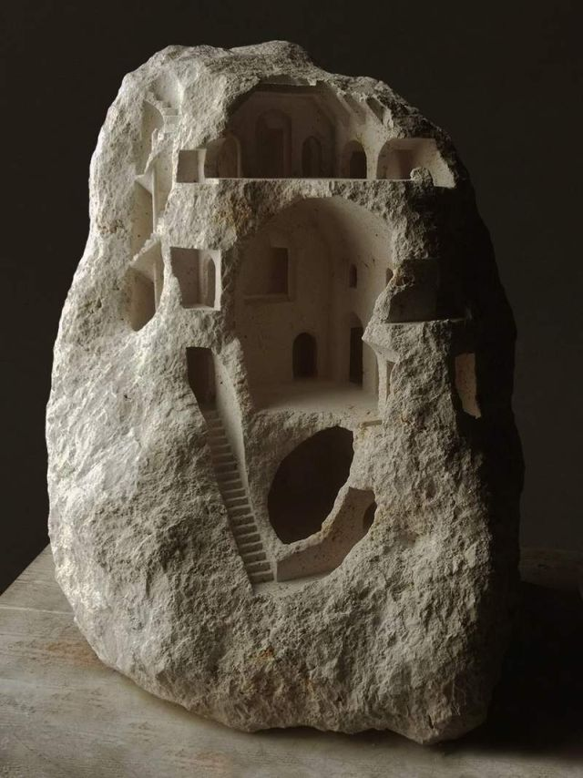 Miniature Structures carved into raw stone (3)