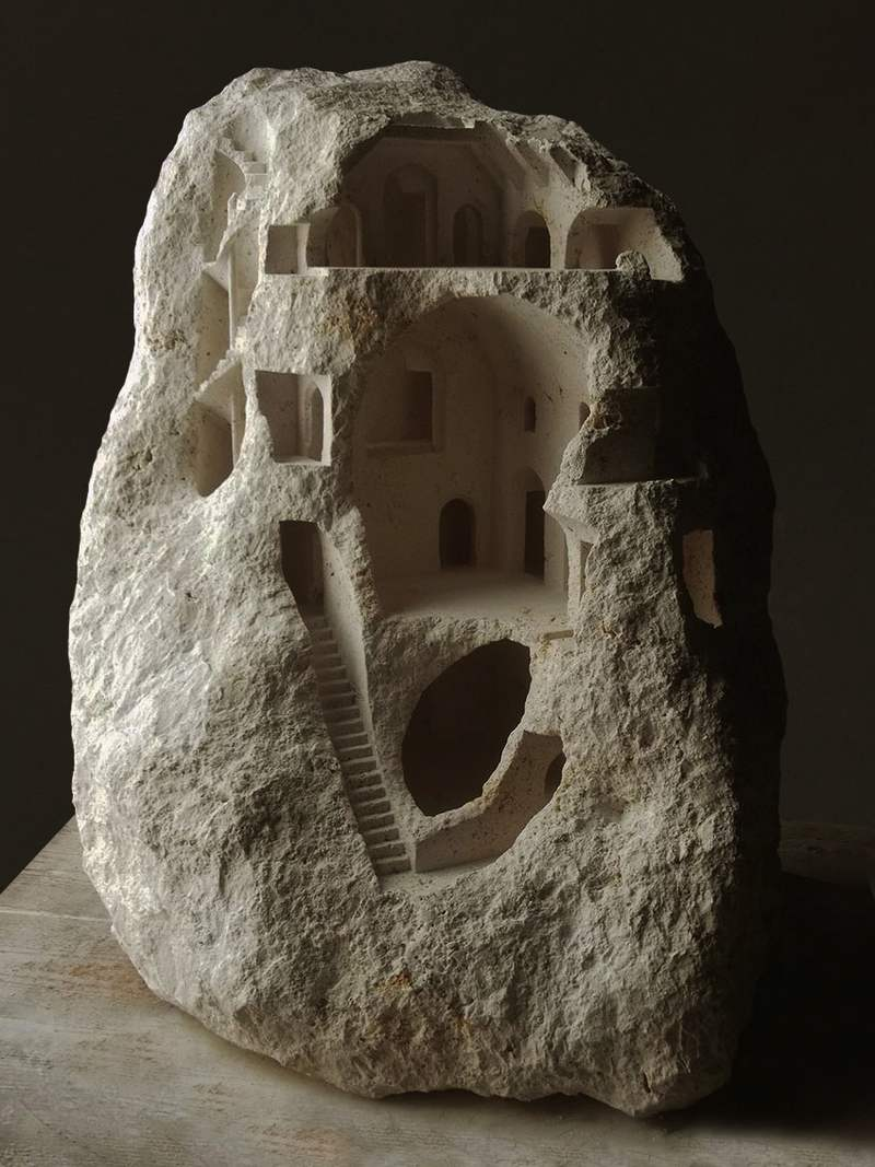 Wordlesstech Miniature Structures Carved Into Raw Stone