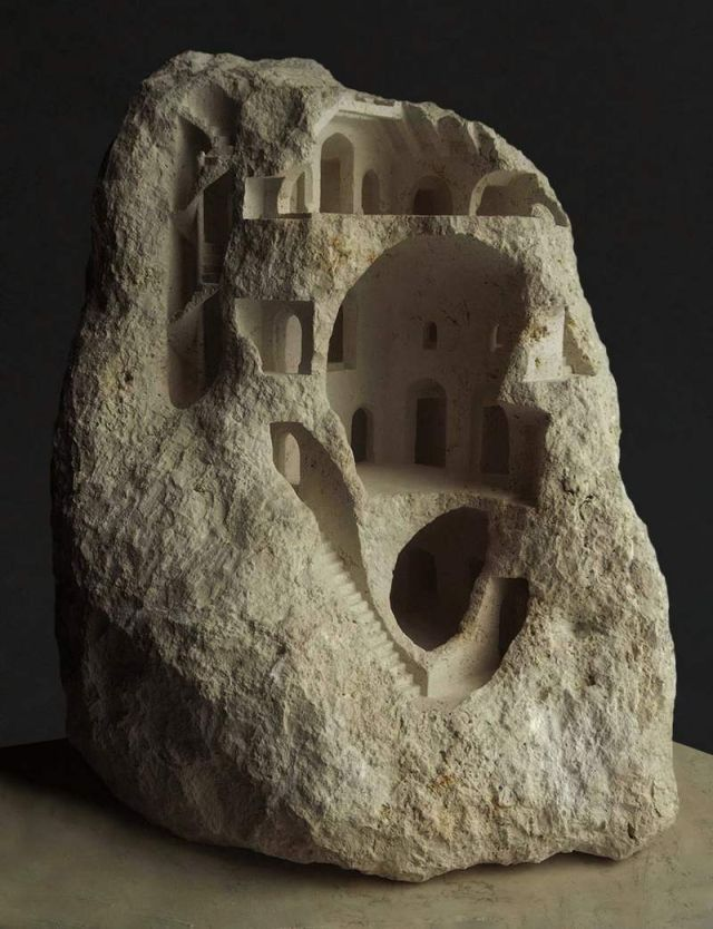 Miniature Structures carved into raw stone (2)