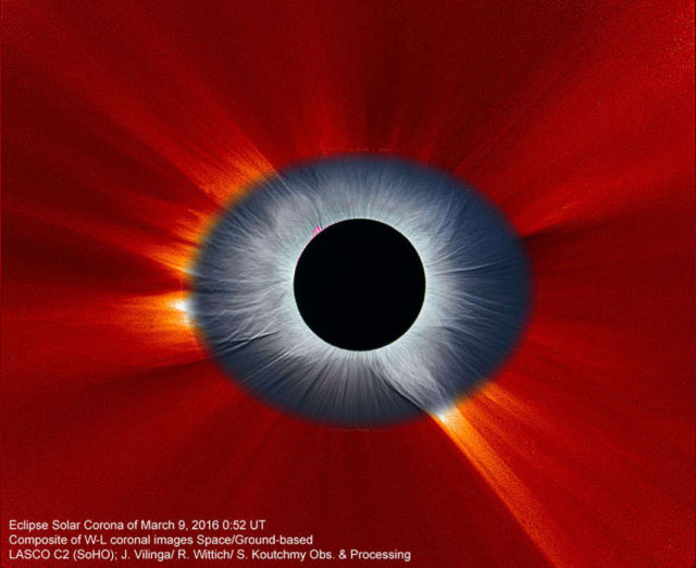Solar Eclipse Corona combined from Earth and Space 1