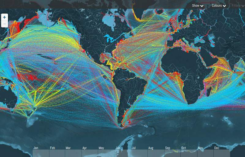 A Map Tracking thousands of Cargo Ships