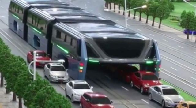 Transit Elevated Bus, that allows cars running underneath