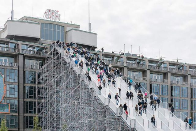 Giant scaffolding staircase in Rotterdam city centre