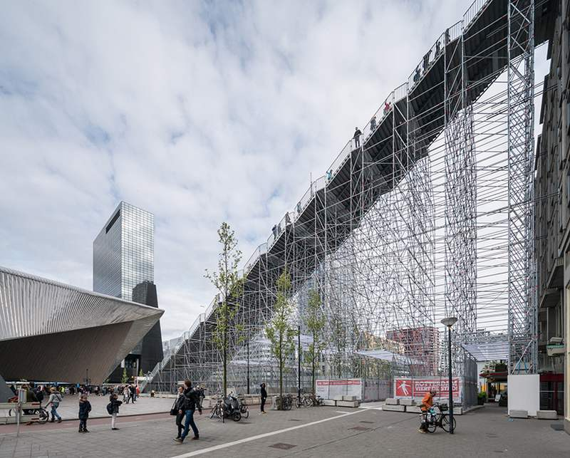 Giant Scaffolding Staircase In Rotterdam City Center