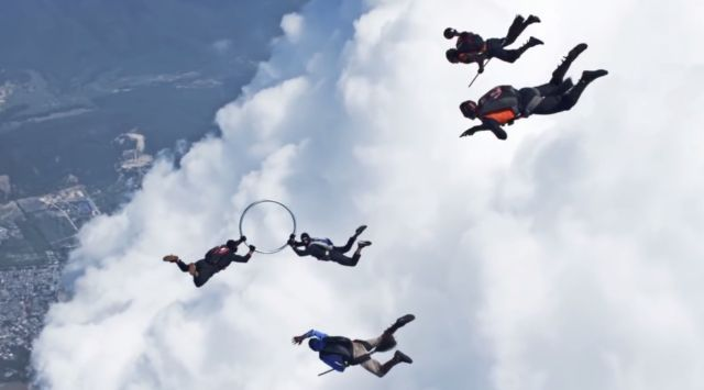 Skydivers Playing a Game of Quidditch in plain air