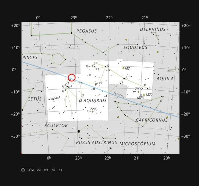 The position of the faint and very red ultracool dwarf star TRAPPIST-1 is marked.
