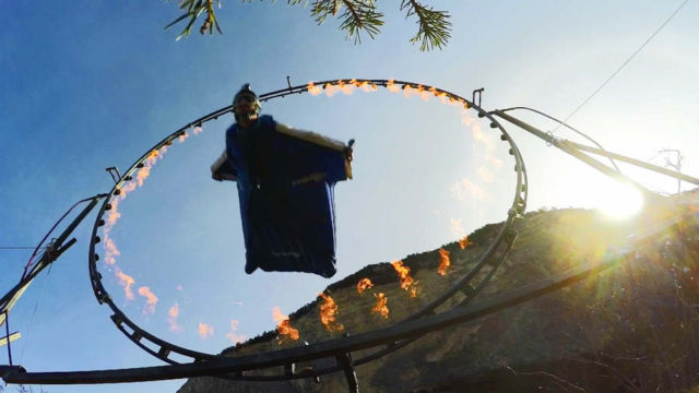 Wingsuit Flight Through Ring of Fire