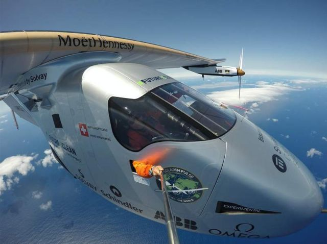 Solar Impulse, piloted by Bertrand Piccard