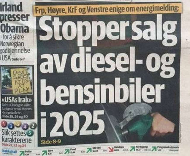 Norway will Ban sales of Gas-Powered Cars by 2025