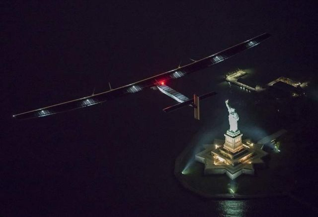 Solar Impulse fly-by past the Statue of Liberty