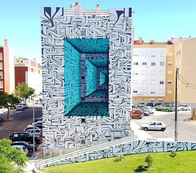 Optical Illusion Graffiti by Astro
