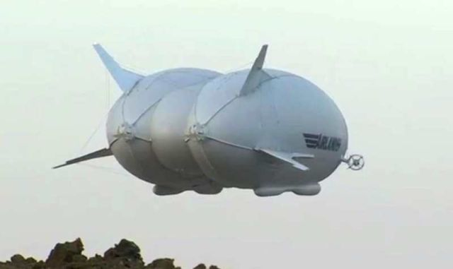 Airship Airlander giant helium-filled hybrid airplane takes its first flight