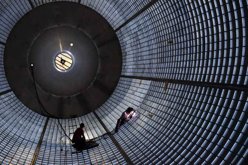 Plugging Away Inside Massive SLS Fuel Tank 1