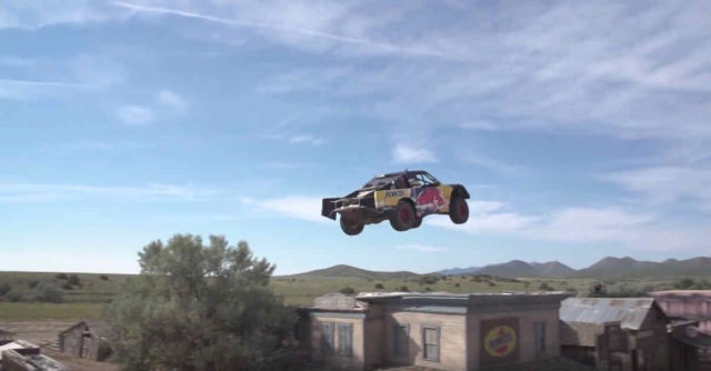 Truck jumps 379 feet over a ghost town (1)