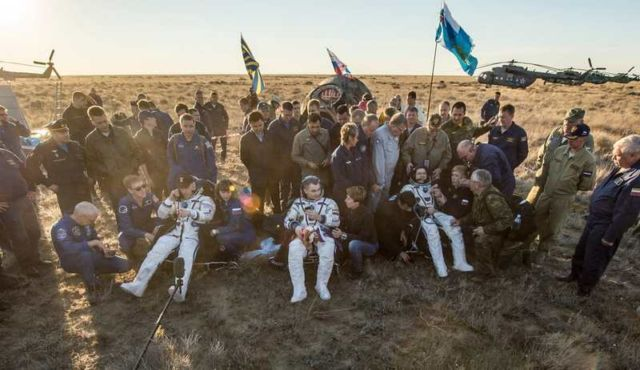 The Soyuz TMA-20M spacecraft is seen as it lands with Expedition 48 crew members