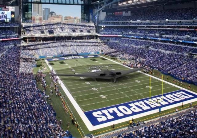 The wingspan of a B-2 is 172 feet which is 12 feet wider than an NFL football field