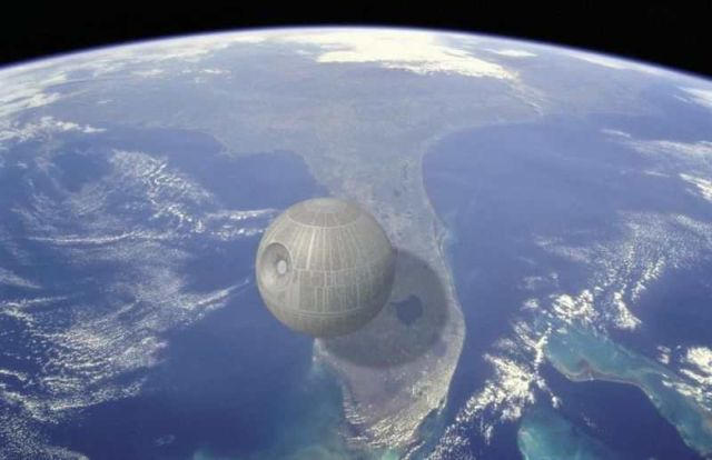 The Death Star's estimated width is around 99 miles across