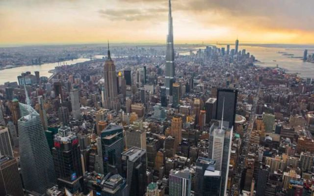 The Burj Khalifa placed in New York it would stretch almost 1,000 feet past the One World Trade center.