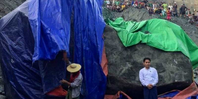 Giant Jade stone uncovered in the jade-producing Kachin state