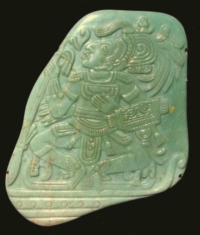 Jadeite pectoral from the Mayan Classic period
