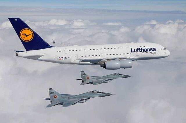 Lufthansa A380 escorted by Bulgarian Air Force fighter jets
