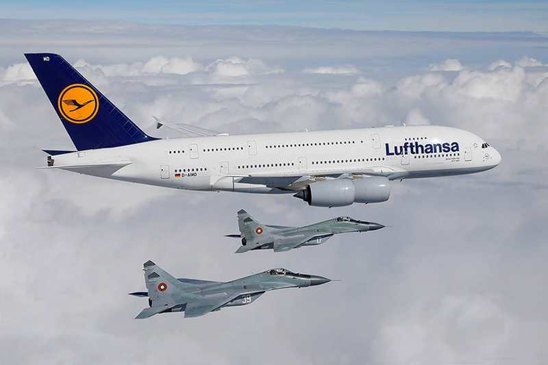 Lufthansa A380 escorted by Bulgarian Air Force fighter jets (3)