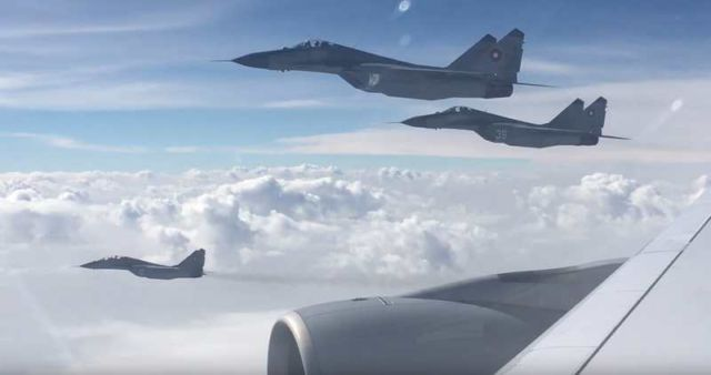 Lufthansa A380 escorted by Bulgarian Air Force fighter jets (2)