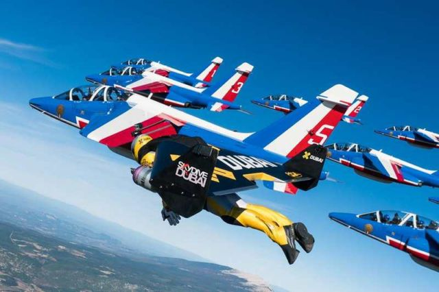 Jetmen in Formation with French Air Force Aerobatic team