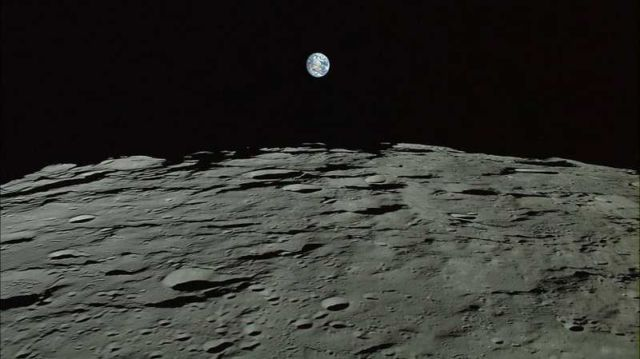 Earth captured from the moons surface. An image by the Japanese Aerospace Exploration Agency