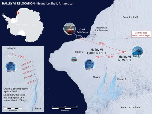 Halley Research Station in Antarctica map