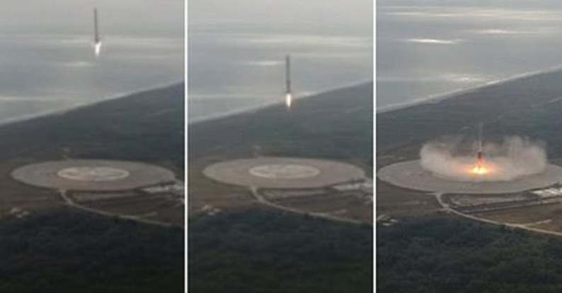 Amazing Drone view of the Falcon 9 First Stage Landing