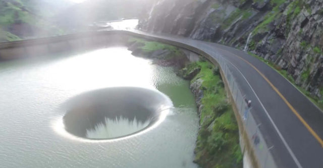 Overflowing Glory Hole Spillway