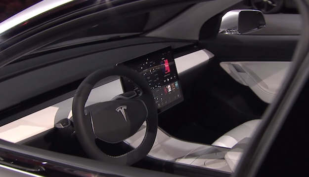 A Tesla Model 3 prototype interior