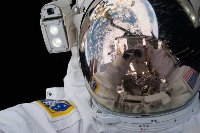 NASA space walk selfie