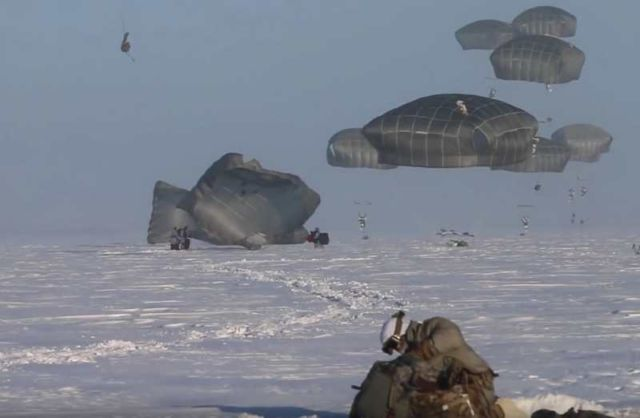 American Paratroopers descend into the Arctic