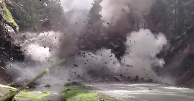 Blown up of a 200-ton rock that was blocking a highway