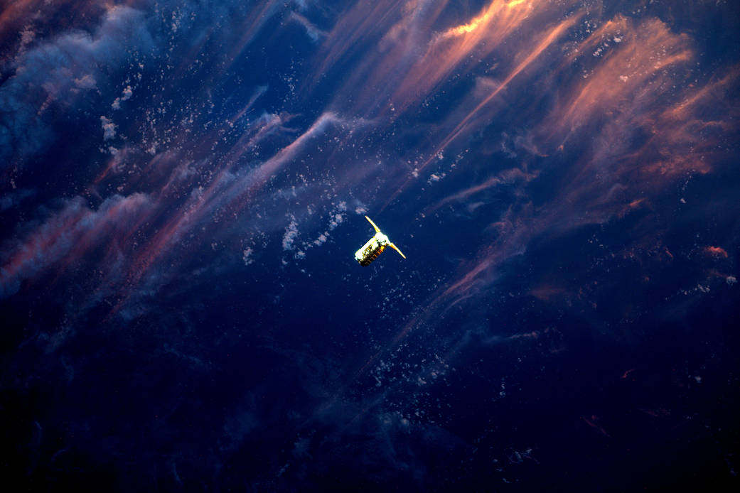 Cygnus Approaching Space Station in the Sunset