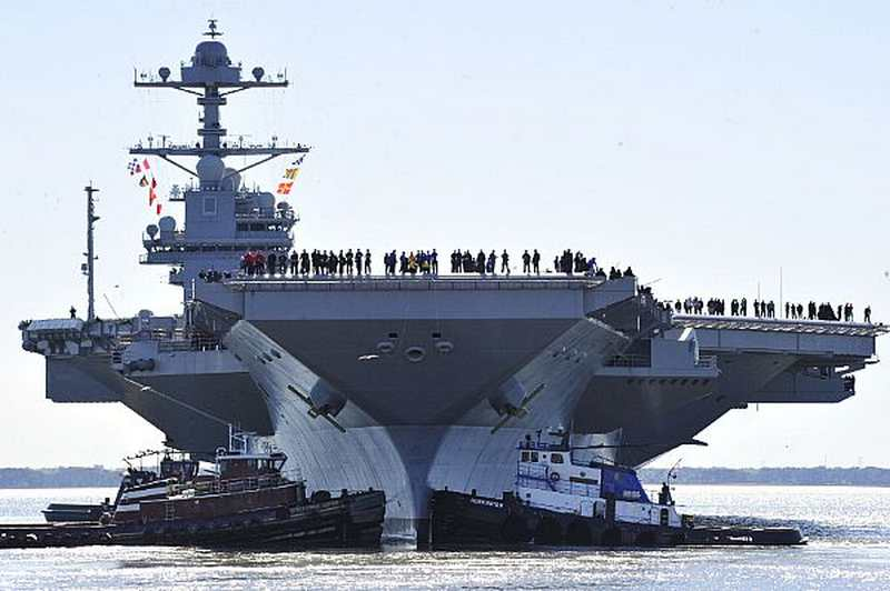 Supercarrier USS Gerald R. Ford underway for Sea Trials ...