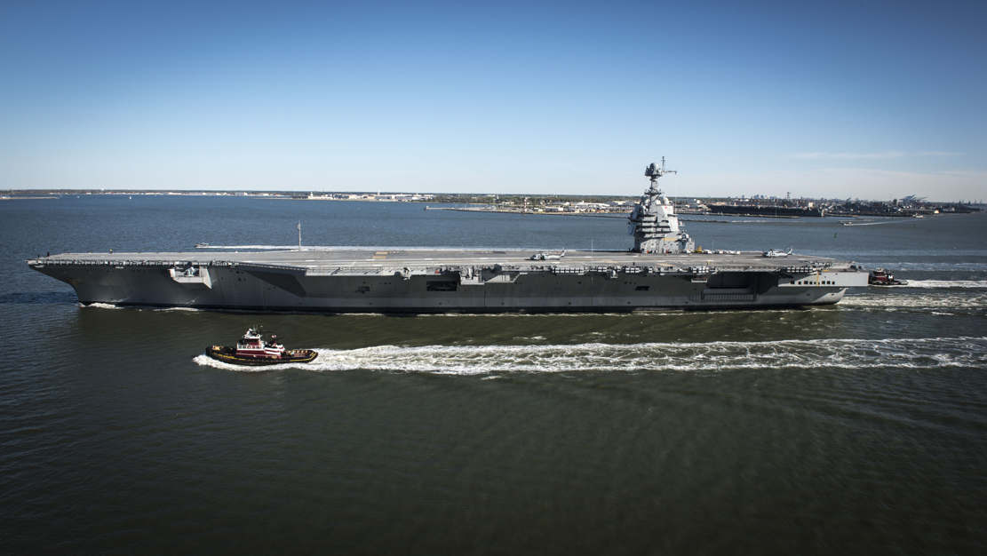 Supercarrier USS Gerald R. Ford underway for Sea Trials