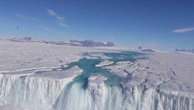 Waterfalls streaming in Antarctica