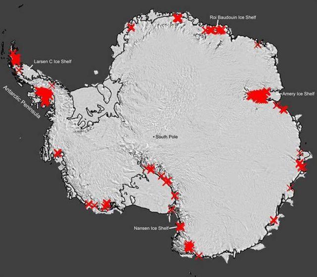 Waterfalls streaming in Antarctica map