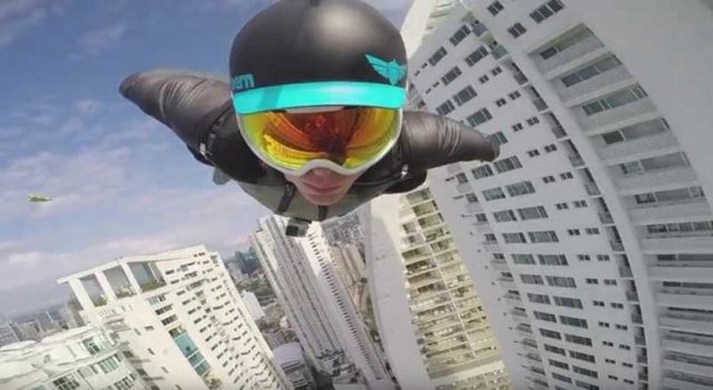 Wingsuit Flight Between Skyscrapers
